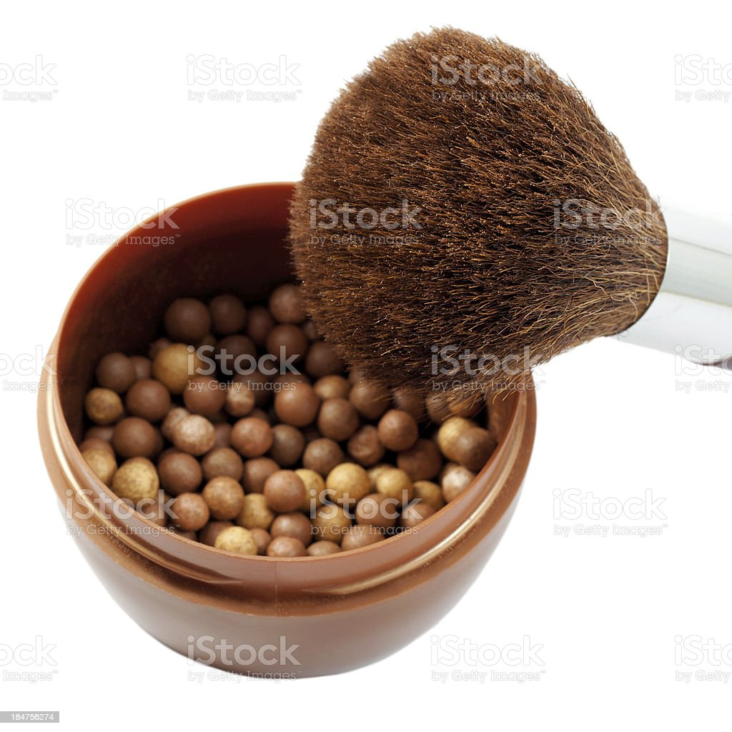 face powder and brush isolated on white stock photo