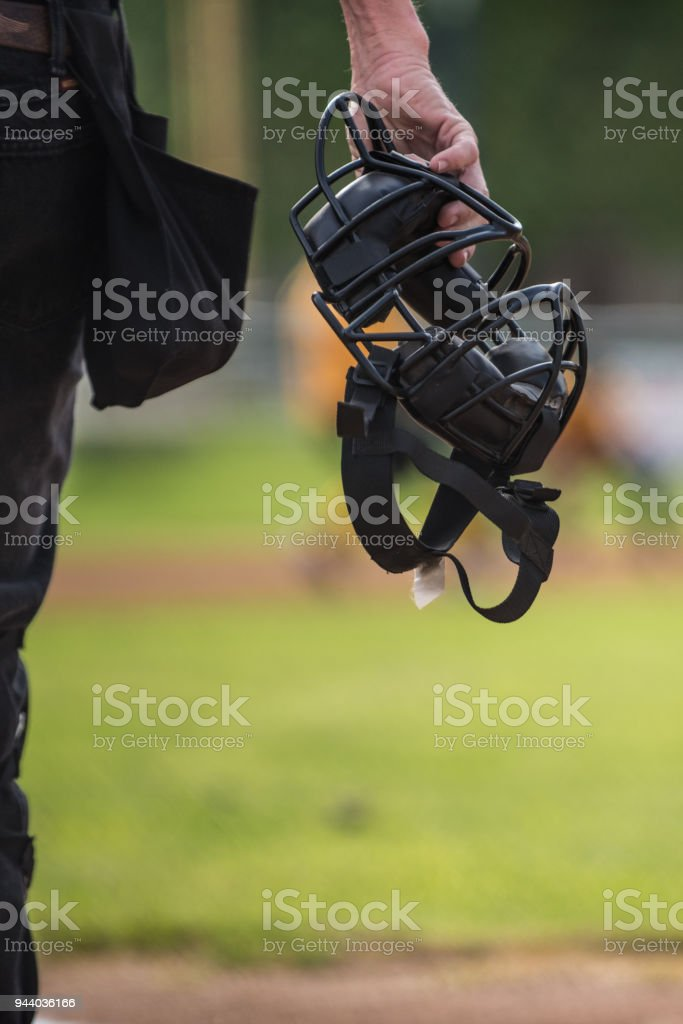 Face protection for Blue during the game. stock photo