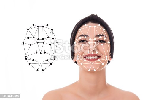851960260 istock photo Face recognition A beautiful woman's face 931333356