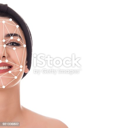 851960260 istock photo Face recognition A beautiful woman's face 931336802