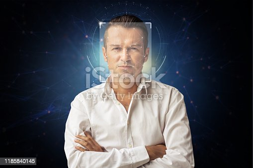 istock 3D face recognition. 1185840145