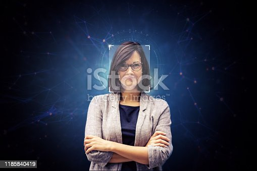 istock Face recognition technology. 1185840419