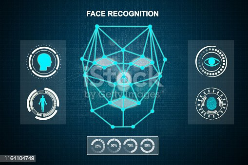 istock Face recognition technology system 1164104749