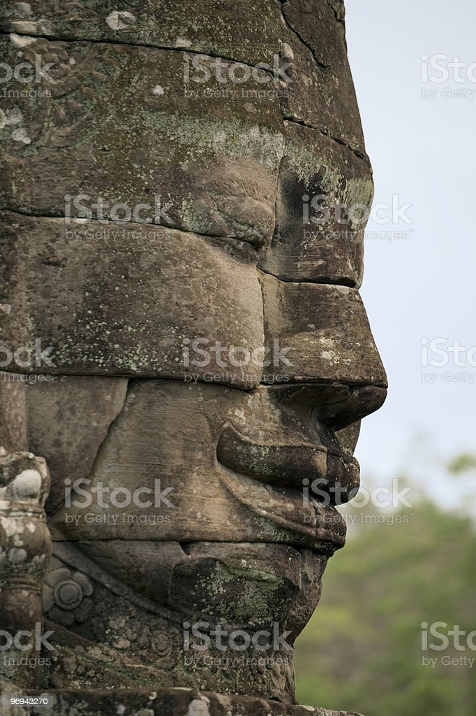 face right Bayon temple royalty-free stock photo