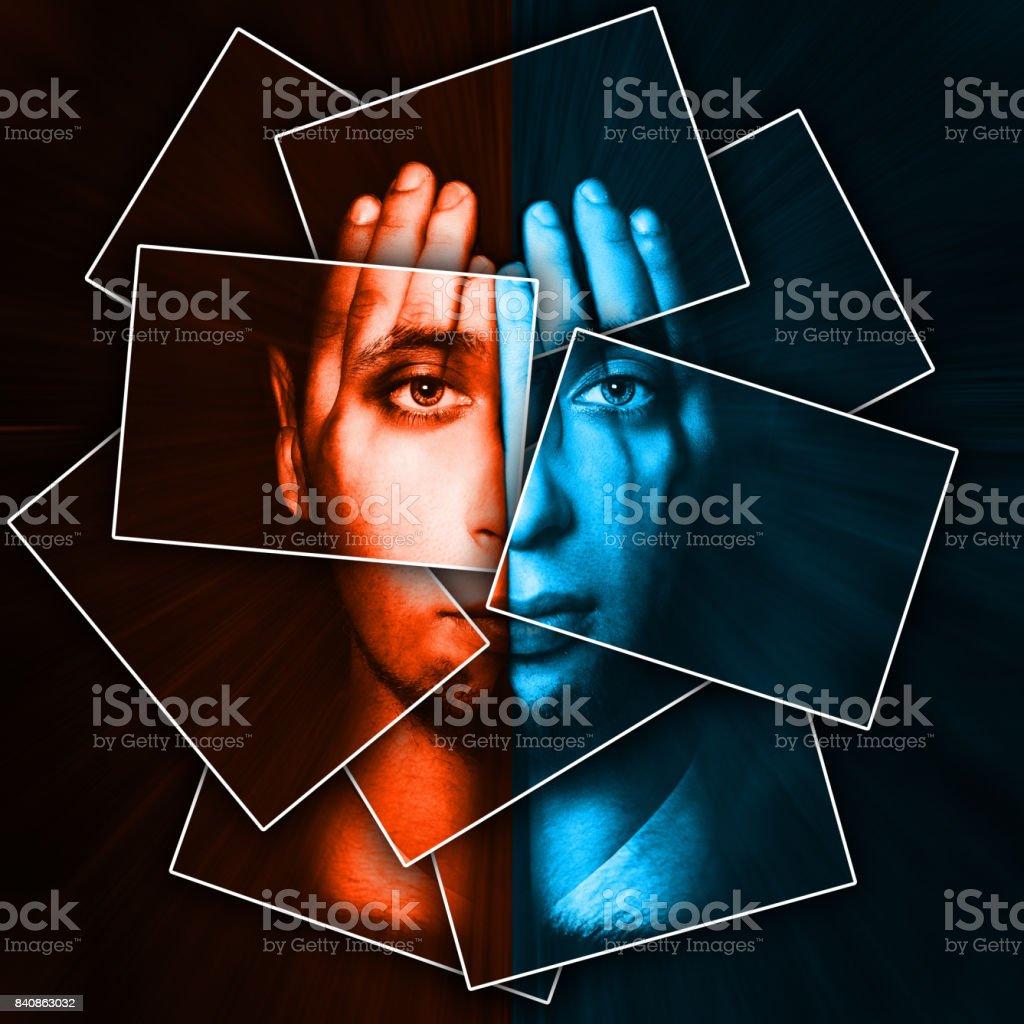Gesicht glänzt durch Hände, Gesicht gliedert sich in vielen Teilen von Karten, Doppelbelichtung – Foto