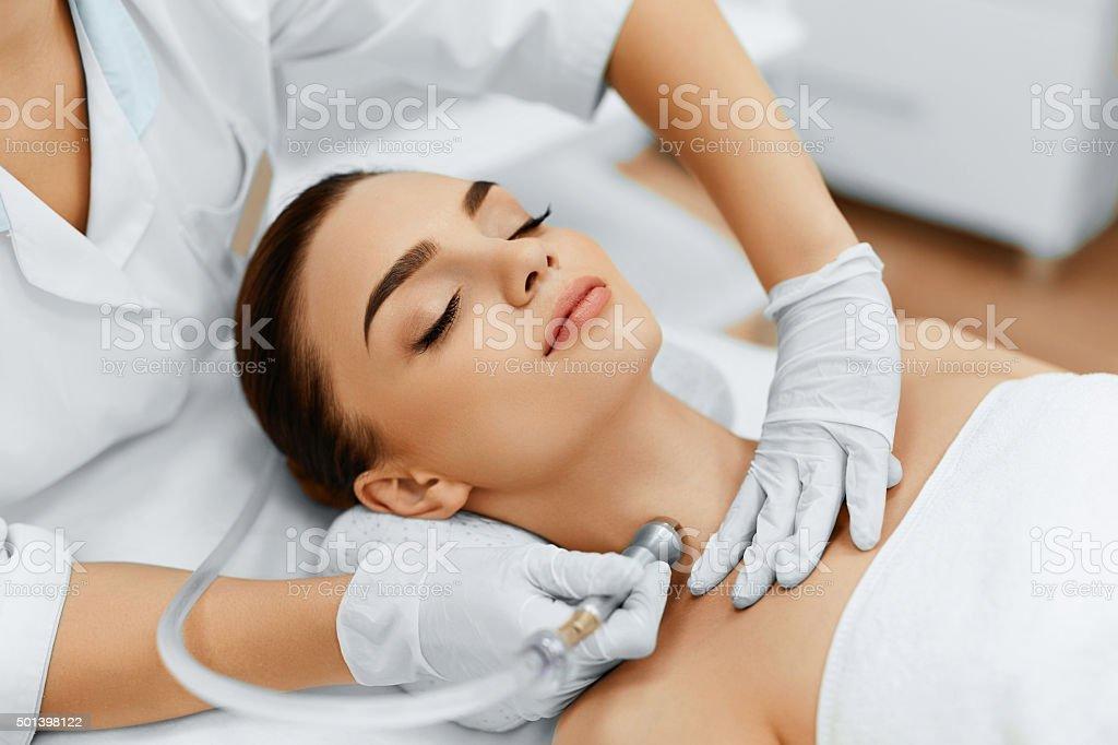 Face Skin Care. Diamond Microdermabrasion Peeling Treatment, Beauty stock photo