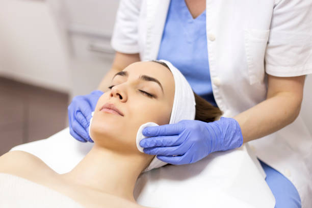 Face Skin cleaning massage stock photo