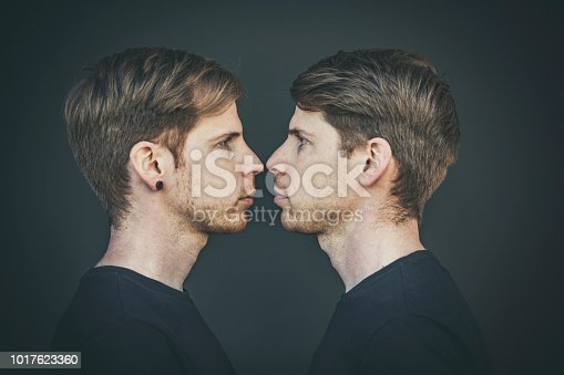 twin brothers face to face portrait, side view.
