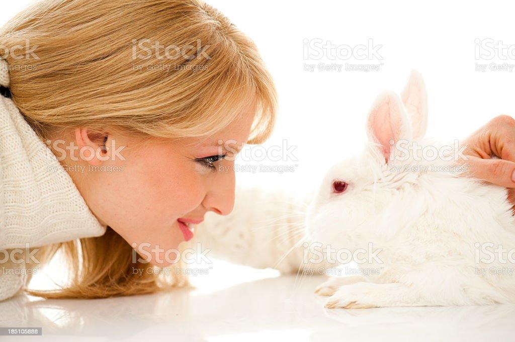 Face to rabbit stock photo