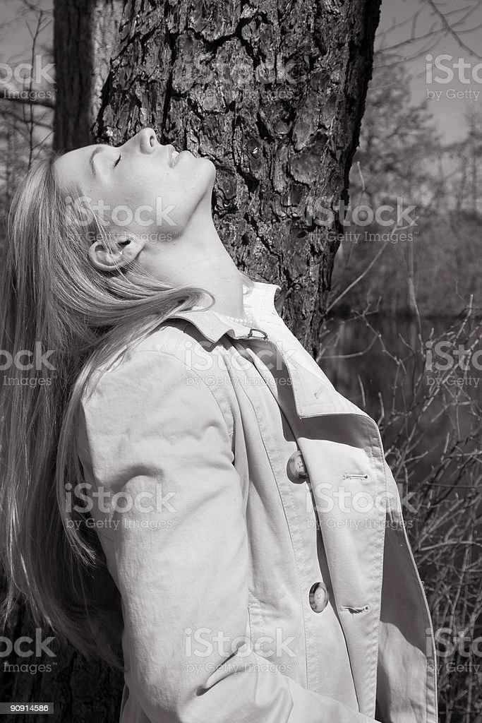 Face to the Sun (B/W) royalty-free stock photo