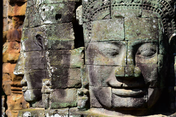 Face towers of the Bayon temple in Cambodia stock photo