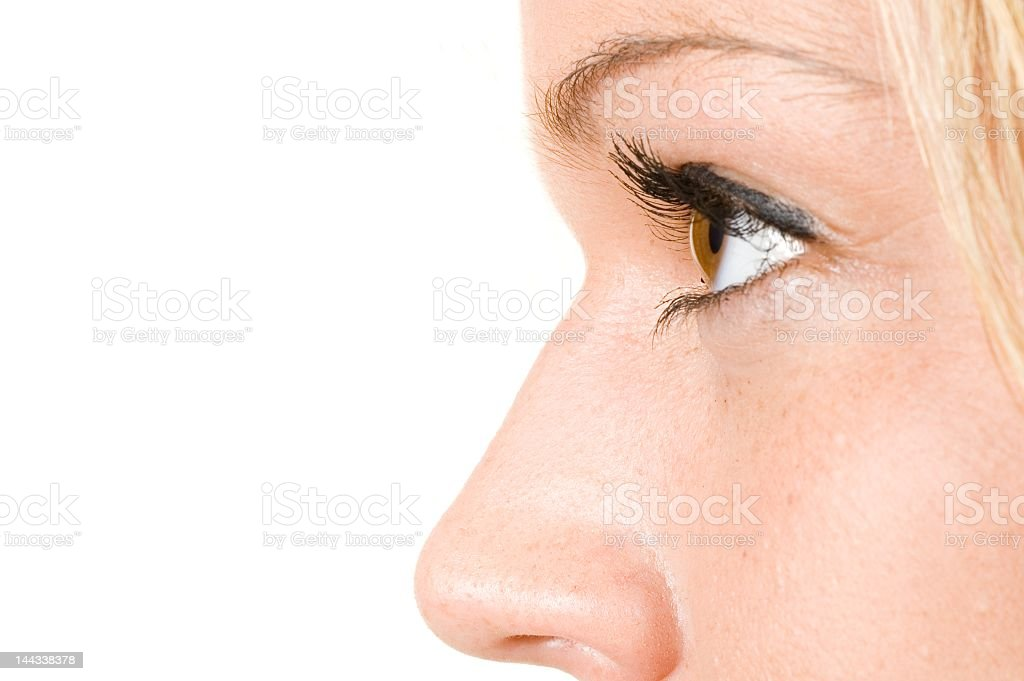 A face with a close-up of eye and nose stock photo