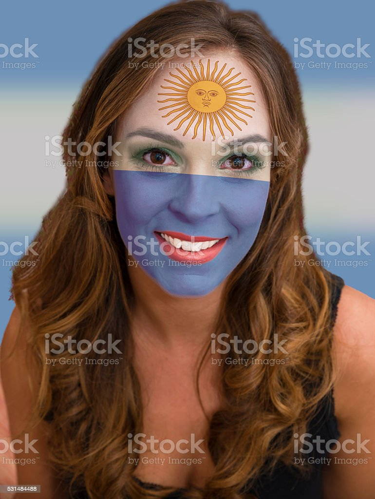 Face with flag of Argentina stock photo