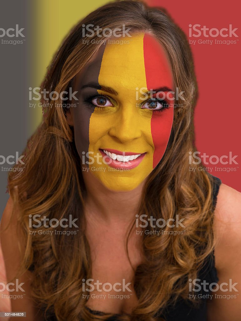 Face with flag of Belgium stock photo