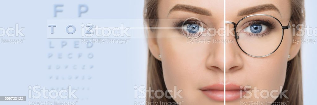 face with glasses and without glasses stock photo
