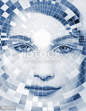 istock Face with modern extur 901559504