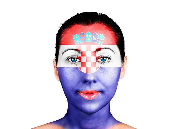 gesicht mit der kroatien-flagge - cro maske stock-fotos und bilder