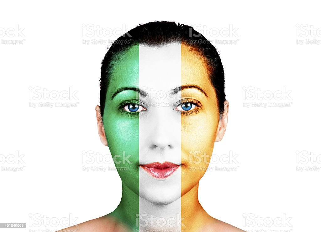Face  with the Ireland flag stock photo