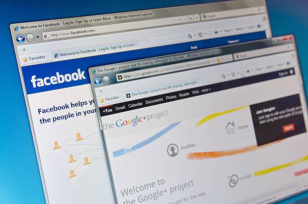 facebook und google - microsoft windows stock-fotos und bilder