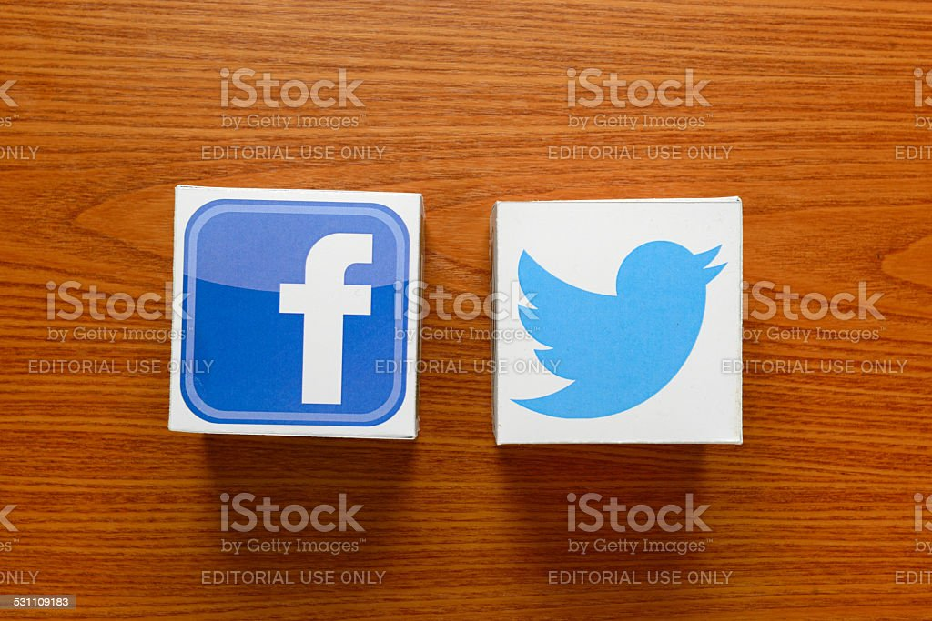 Facebook and Twitter stock photo