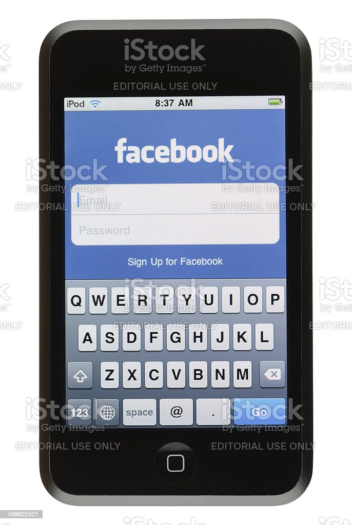 Facebook App on an iPod Touch royalty-free stock photo