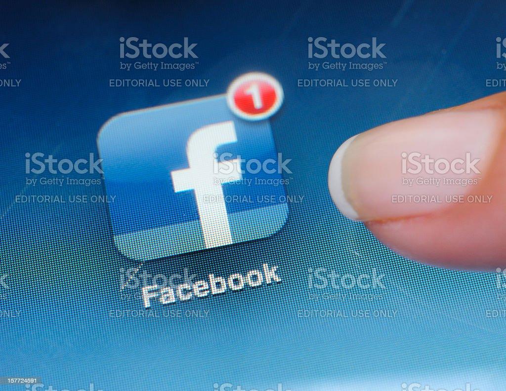 Facebook Application on iPad stock photo