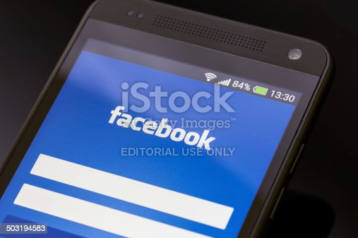 588359078 istock photo Facebook application on smart phone screen. 503194583