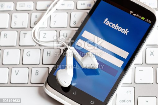 588359078 istock photo Facebook application on smart phone screen. 503194633
