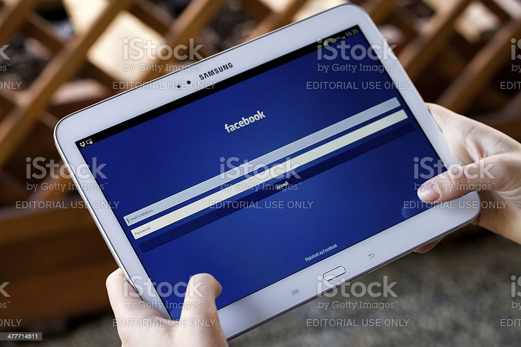 Facebook for Samsung Galaxy Tab 3 stock photo