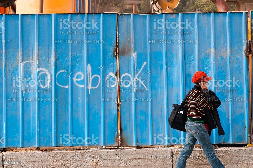 Facebook graffiti royalty-free stock photo