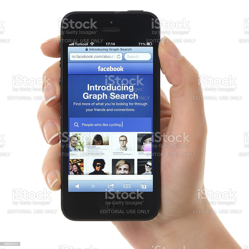 Facebook Graph Search on iPhone 5 stock photo