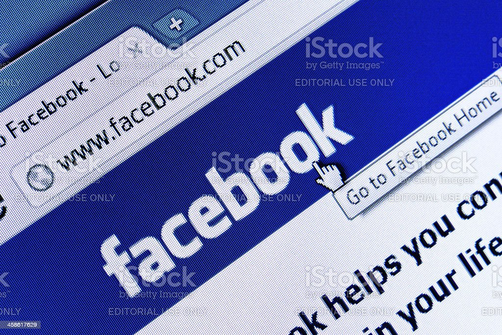 Facebook Homepage Closeup on LCD Screen, Chrome Web Browser royalty-free stock photo