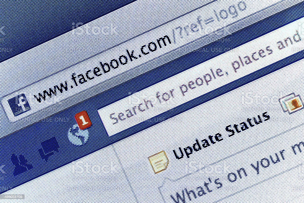 Facebook homepage on LCD Screen royalty-free stock photo
