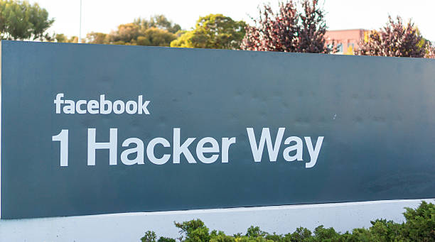 Facebook Inc's entrance sign at the corporate office in California stock photo