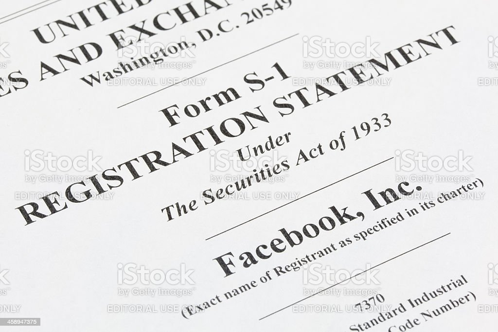 Facebook IPO registration form royalty-free stock photo
