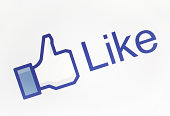 Istanbul, Turkey - October 14, 2011: A close-up view to the Facebook like button on LCD screen. This form is the most widely known among similar.