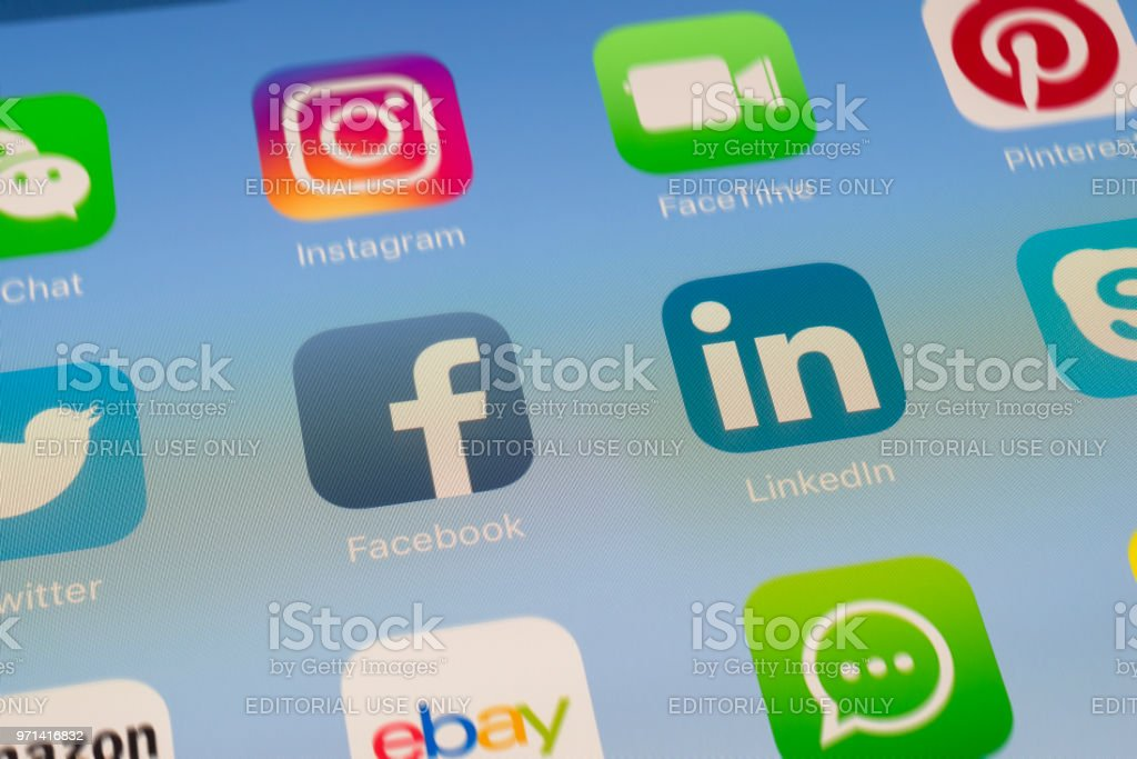 Facebook Linkedin And Other Social Media Apps On Ipad Screen Stock Photo Download Image Now Istock