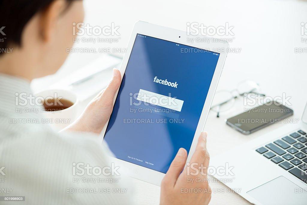 Facebook login on Apple iPad Air royalty-free stock photo