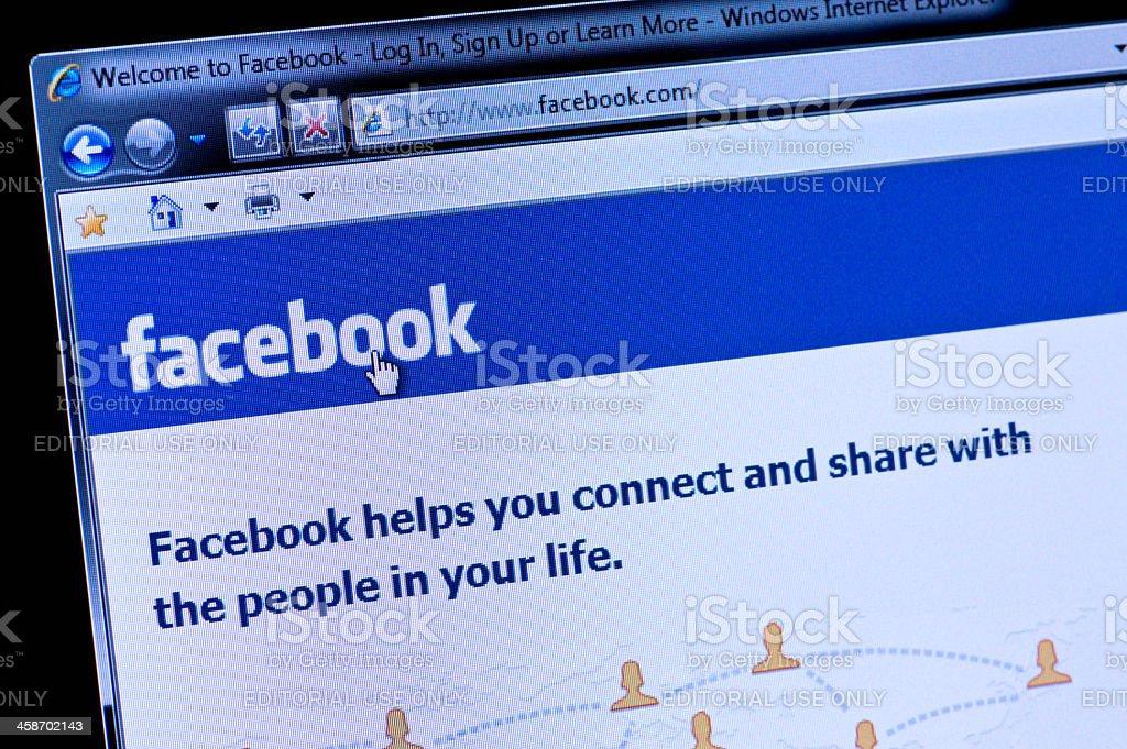 Facebook - Macro shot of real monitor screen stock photo