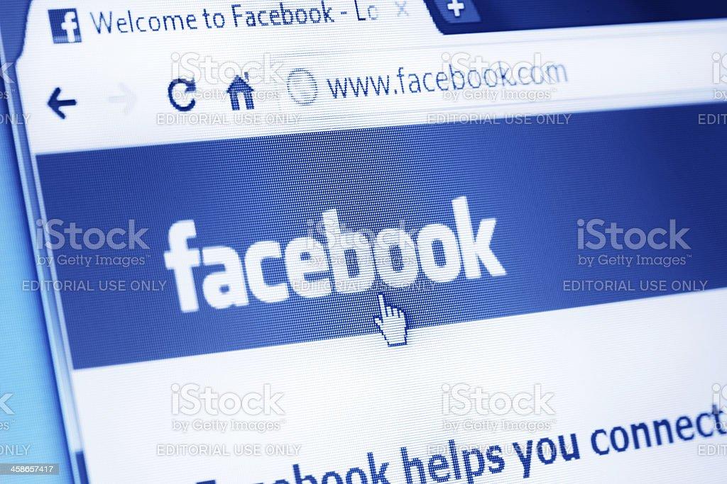 Facebook pagina web al browser principale foto stock royalty-free
