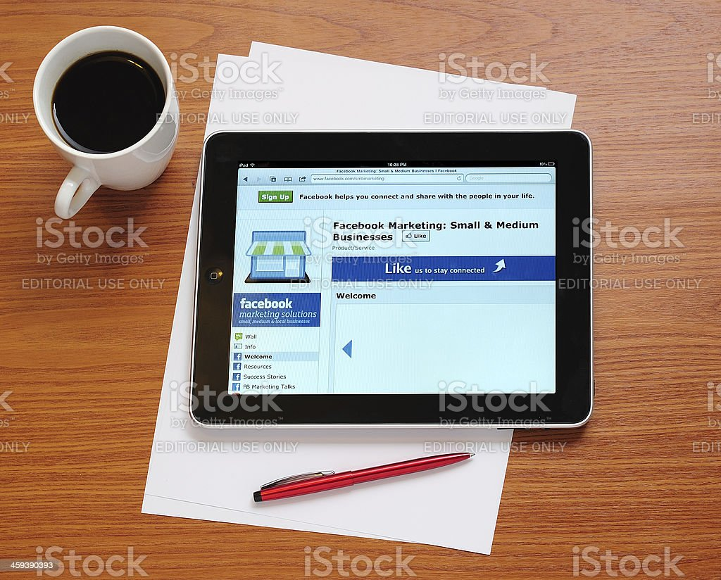 Facebook Marketing Page on iPad stock photo