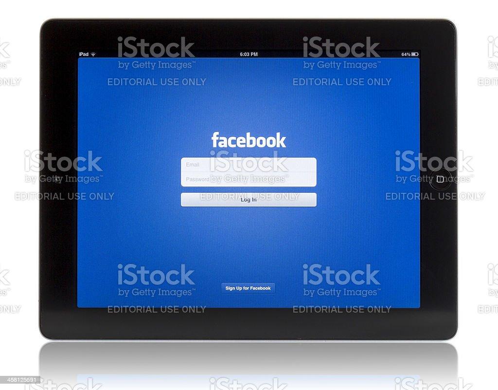 Facebook on iPad 3 royalty-free stock photo