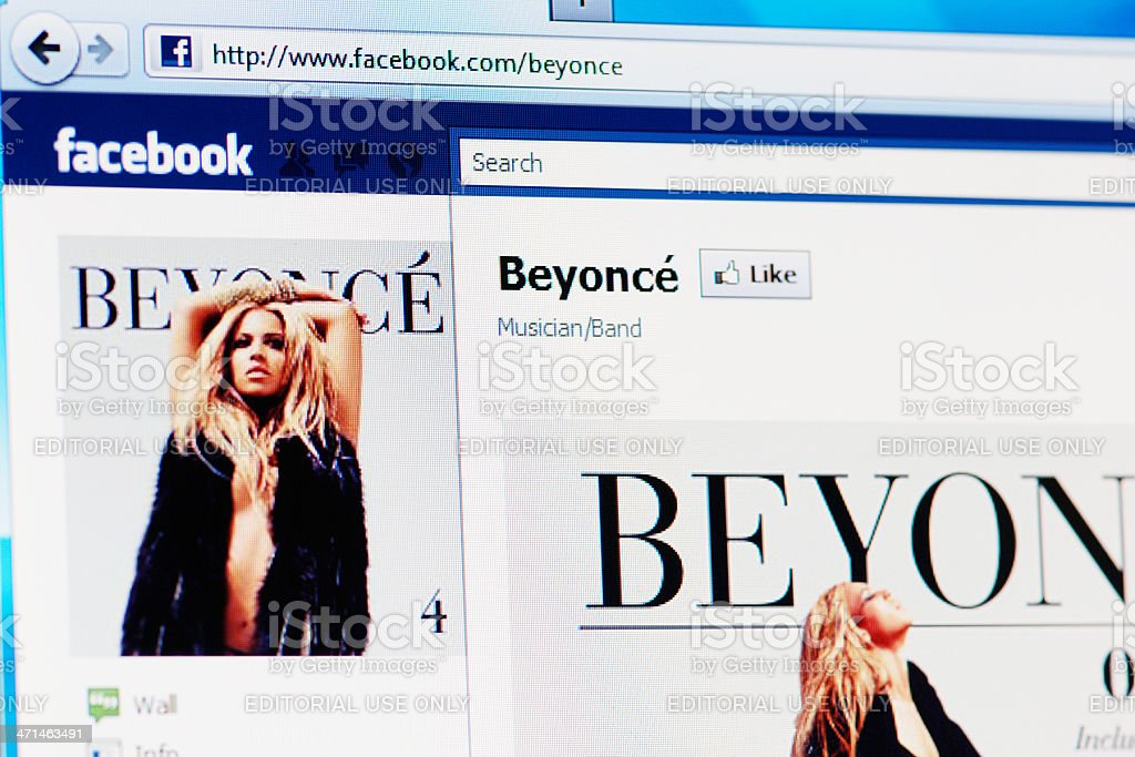 Facebook page of Beyoncé on RGB laptop monitor stock photo