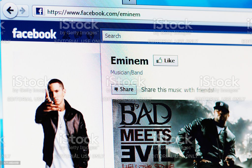 Facebook page of Eminem on RGB laptop monitor royalty-free stock photo
