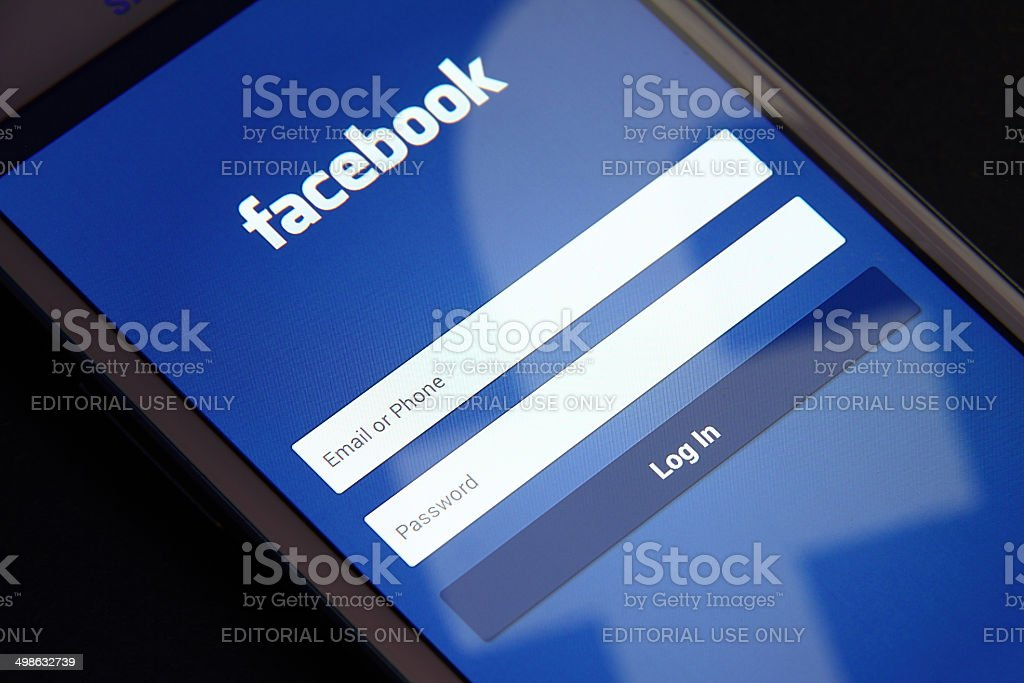 Facebook screen stock photo