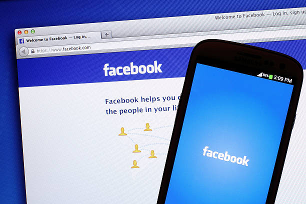 facebook screen - page stock photos and pictures