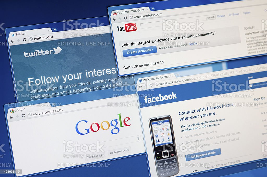 Facebook, Twitter, Youtube and Google search engine. royalty-free stock photo