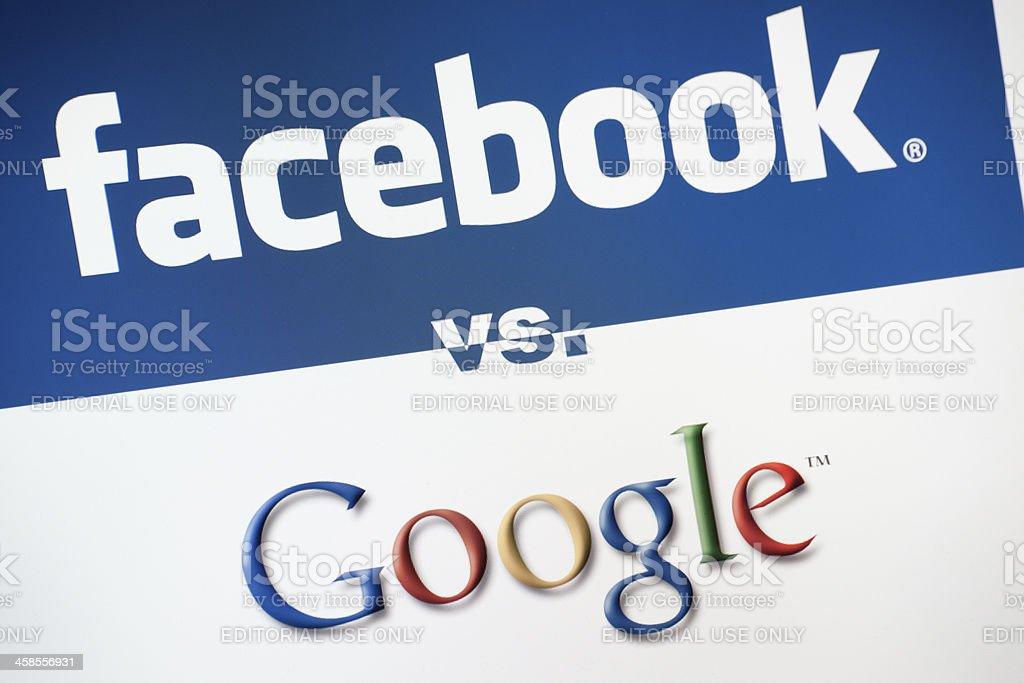 Facebook Versus Google stock photo