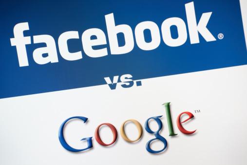 Facebook Versus Google Stock Photo - Download Image Now