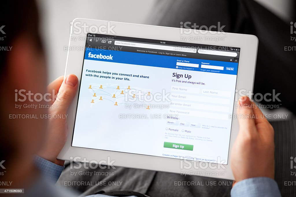 Facebook Web Site on iPad royalty-free stock photo